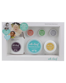Oh-Lief Natural Products Baby Box includes Bum Balm, Natural Aqueous cream, Shampoo & wash, Baby wax, Tummy wax, Insect Balm