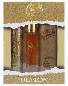 Revlon Charlie Gold 27ML EDT Spray/90ml Perfumed Body Spray/250ml Perfumed Body Lotion