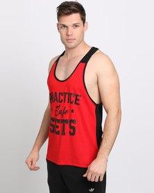 IMYG Gymwear Practice Safe Sets Vest Red