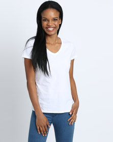 Fruit of the Loom Lady Fit V-Neck T-Shirt White