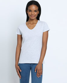 Fruit of the Loom Lady Fit V-Neck T-Shirt Grey
