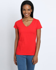 Fruit of the Loom Lady Fit V-Neck T-Shirt Red