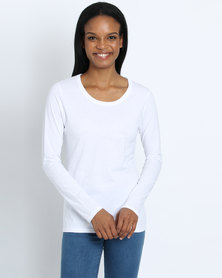 Fruit of the Loom Lady Fit Long Sleeve T-Shirt White