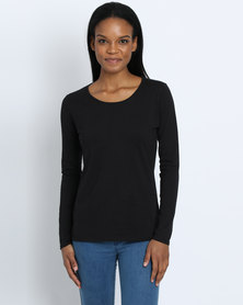 Fruit of the Loom Lady Fit Long Sleeve T-Shirt Black
