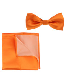 Robert Daniel Plain Bow Tie Orange