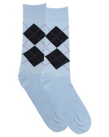 Robert Daniel Diamante Socks Blue