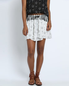 Goldie Sun Seeker Arrow Printed Skirt White