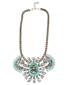 Vikson Fan Stone Necklace Green