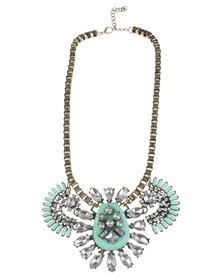 Vikson Fan Stone Necklace Green
