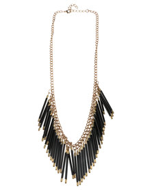 Vikson Bugle Necklace Black Gold-tone