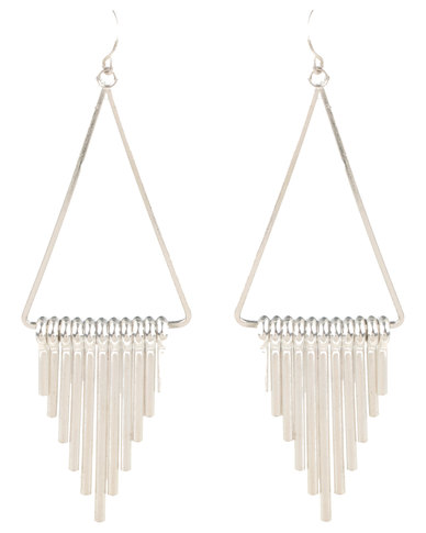 Vikson Spike Tri Earrings Silver-tone