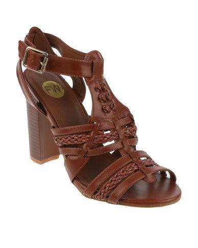 Footwork Amara Chucky T-Bar Block Heel With Strap Detail Tan