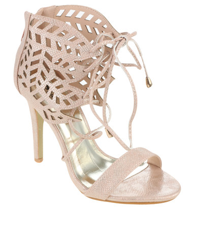 discount order wiki cheap online PLUM PLUM Erin High Heel Lace Up Shoe with Cut Out Detail Pink DykEy