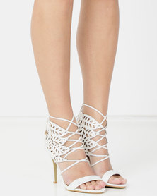 Plum Erin High Heel Lace Up Shoe with Cut Out Detail White
