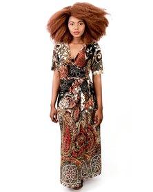 Jatine Toni Maxi Wrap Dress Orange Stainglass