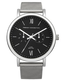 French Connection Black Face Watch Black and Silver