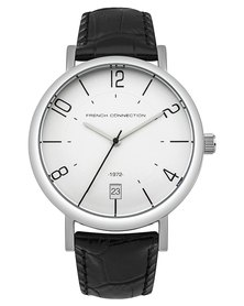 French Connection Watch Black and Silver Leather