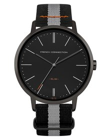 French Connection Watch Black Dial Black and Silver Nato Strap