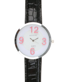 Digitime Suga Watch With Hot Pink Numbers Black