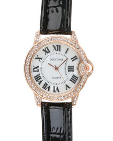 Digitime Lobe Watch With Diamante And Roman Numerals Black