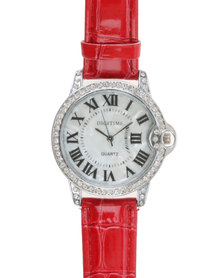 Digitime Lobe Watch With Diamante And Roman Numerals Red