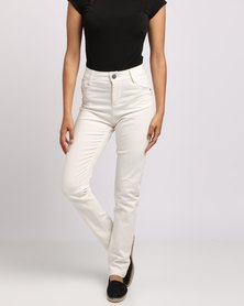 PEG High Waist Denim Pants White