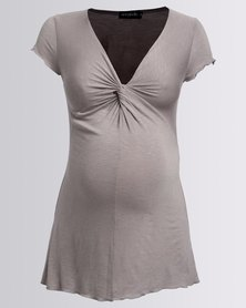 Annabella Maternity Twist Front Maternity Top Mocha