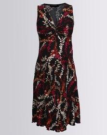 Annabella Maternity Isabella Twist Front Dress Black Multi