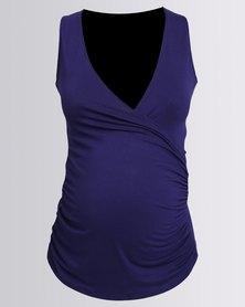 Annabella Maternity Breastfeeding Summer Crossover Top Ink Blue