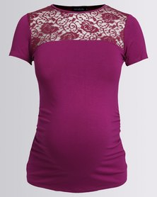 Annabella Maternity Summer Lace Inset Top Berry