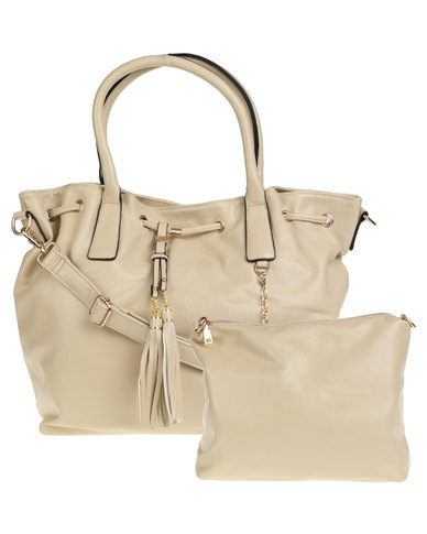 Joy Collectables Ladies Hobo Bag with Tassels Cream