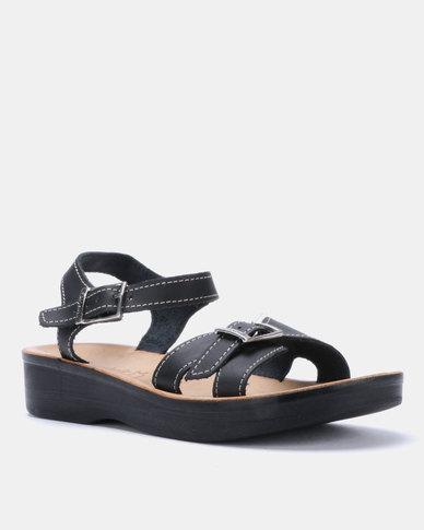 Ladies Sandal Slingback Angelsoft Comfort Black Leather Wedge 4Ajq3R5L