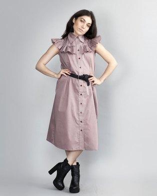 49dade2839c HASHTAG SELFIE Frill Shirt Dress Coral Pink