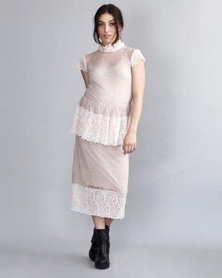 95a8515a1a2 HASHTAG SELFIE Lace Nude Peplum Dress Pink