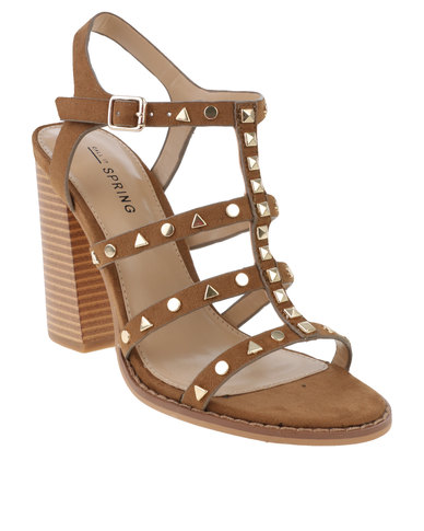 939ae686b96 Call It Spring Perren Chunky Studded Heeled Gladiator Sandal Cognac ...