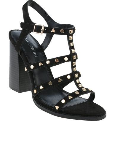 3125ebd52dc Call It Spring Perren Chunky Studded Heeled Gladiator Sandal Black ...