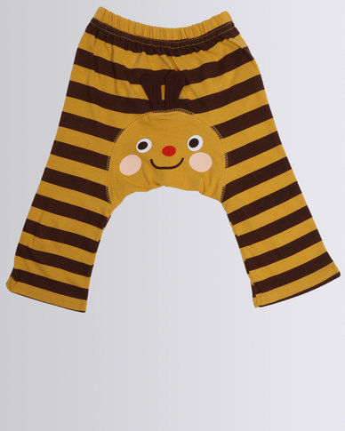 Funky Monkey Baby Cotton Pants With Animal Applique Brown/Yellow