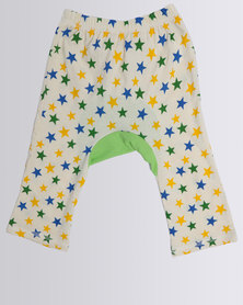 Funky Monkey Baby Cotton Pants With Animal Applique Frog Blue/Green