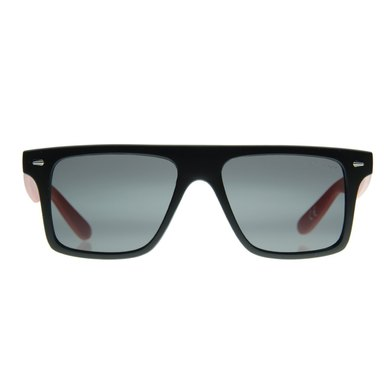 b4f8d095237 Lentes   Marcos Velazquez UV400 Black Red Flat-Top Sunglasses with Red  Temples