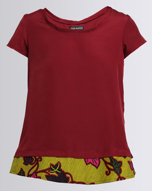 Black Buttons Layered Blouse Red