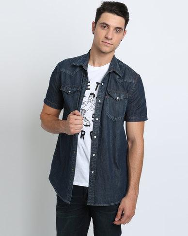 b7fe319079e Levi s Short Sleeve Classic Western Shirt Dark Blue