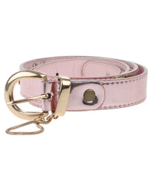 Joy Collectables Metallic Skinny Belt Pink