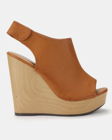 Plum Heidi Tan Slingback High Heeled Peep Toe Wedge