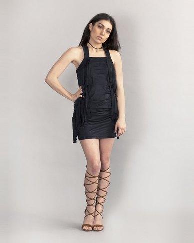 HASHTAG SELFIE Fringed Suede Dress Black
