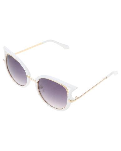 Miss Maxi Catseye Sunglasses White