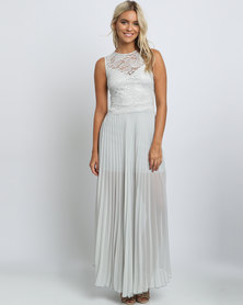 Mix Lace Overlay Pleated Maxi Dress Grey