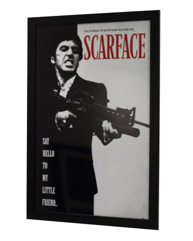 Scarface Say Hello To My Little Friend Framed Poster Zando