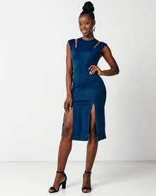 City Goddess London Cut Out Double Split Fitted Dress Teal