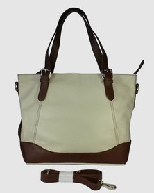 Icon Leather Tote handbag Belt Strap Handles - Cream