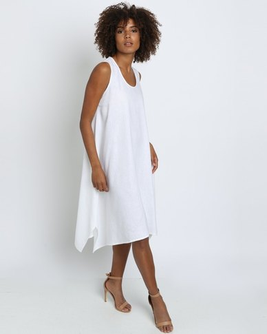 8172b55459 Lunar Linen Trapeze Dress White